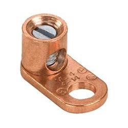 """Copper Mechanical Lug, 1 Hole, Barrel Post, #14 SOL, #8 STR, 3/16"""" (4.8mm) Stud, Pack of 100"""