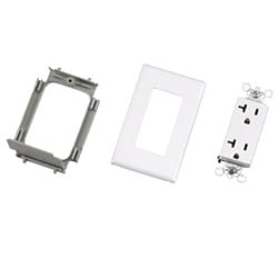 Power addition kit includes 20A rectangular outlet with two mounting screws, outlet mounting bracket with one mounting screw and snap-on faceplate.