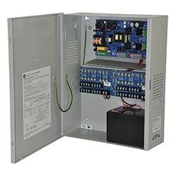 Power Supply/Charger avec alarme incendie Disconnect - 12 V DC @ 10 amp max. Seize (16) sorties fusionnées et un (1) auxiliaire puissance de sortie