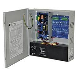 Power Supply/Charger avec alarme incendie débrancher - 12 V DC ou 24 V DC @ 6 amp max. Sortie de courrant de seize ans (16) PTC Class 2 puissance limitée sortie et auxiliaire un (1)