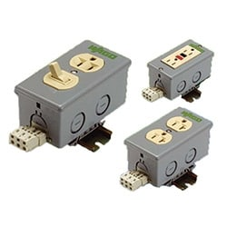 DIN rail mount GFCI duplex outlet box, 120 V, 20A rated current with load terminals, 28 - 12 AWG, 35 mm
