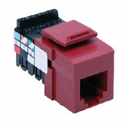 Voice Grade QuickPort Connector, 6P6C, Red