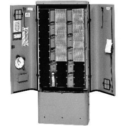 900-pair cross-connect enclosure equipped with RLS50 terminal blocks, no connectors, green