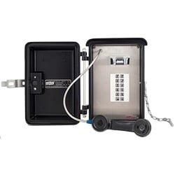 Weatherproof Phone with 12 Autodial Push Buttons. Designed for Tough Weather Conditions and Indoor Areas that Need Added Protection