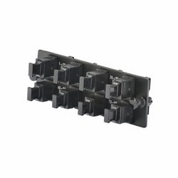 Opticom MPO FAP loaded with eight (8) key-up/key-up MPO fiber optic adapters; oriented horizontally for Opticom or Opticom QuickNet Patch Panels and Fiber Enclosures, charcoal gray.