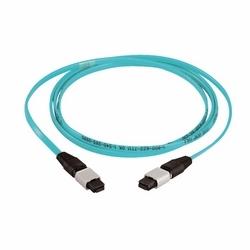 QuickNet Multimode OM4 10Gig 10 GbE 50/125 um Fiber Optic Interconnect Cable Assembly, 12 Fiber, MTP To MTP Connector, Plenum (OFNP) Rated, 15 m, Aqua