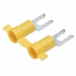 Blocage fourche Terminal, vinyle isolé, entrée de l'entonnoir, sertissage de l'isolant en plastique, 12-10 gamme de fils AWG, taille de goujon #10.