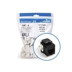 eXtreme 6+ QuickPort Connector Quickpack, Category 6, 25-pack, Black