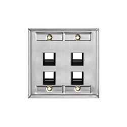 Angle en acier inoxydable double-Gang QuickPort plaque murale avec ID Windows, 4-Port