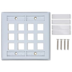 KeyConnect Faceplates 6-Port, Double Gang, Flush