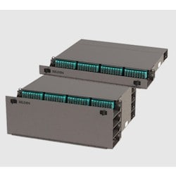 FiberExpress Ultra HD Patch Panel Housing, 1U, Front and Rear Cable Tray, Empty, Titanium